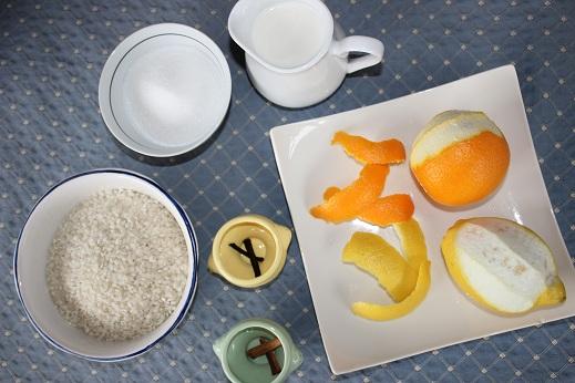 arroz, azúcar, leche, vainilla, canela, naranja, limón