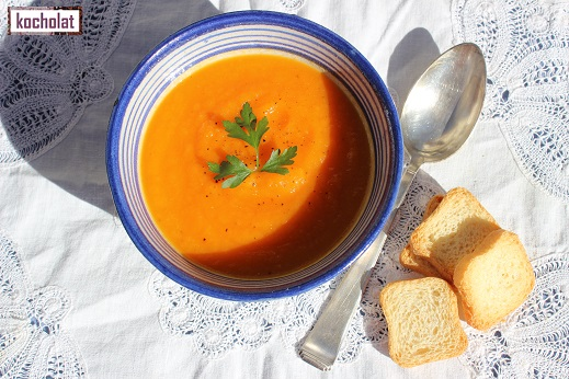 sopa de zanahorias, crema de zanahorias, crema de zanahorias y naranja, kocholat